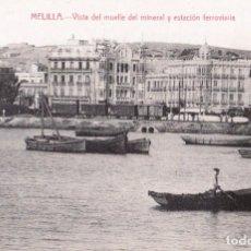 Postales: MELILLA. VISTA DEL MUELLE DEL MINERAL Y ESTACIÓN FERROVIARIA. EDIC. BOIX HERMANOS. MELILLA. Lote 203557333