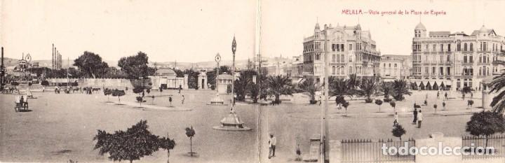 MELILLA. VISTA GENERAL. PLAZA ESPAÑA POSTAL DOBLE. EDIC. BOIX HERMANOS. MELILLA (Postales - España - Melilla Antigua (hasta 1939))