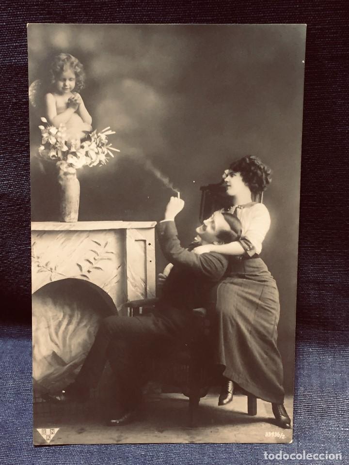 POSTAL 1912 MELILLA CUPIDO AMOR PROTEGE PAREJA EL FUMA INSCRITA BUEN ESTADO GARRIDO DE GALLONET (Postales - España - Melilla Antigua (hasta 1939))