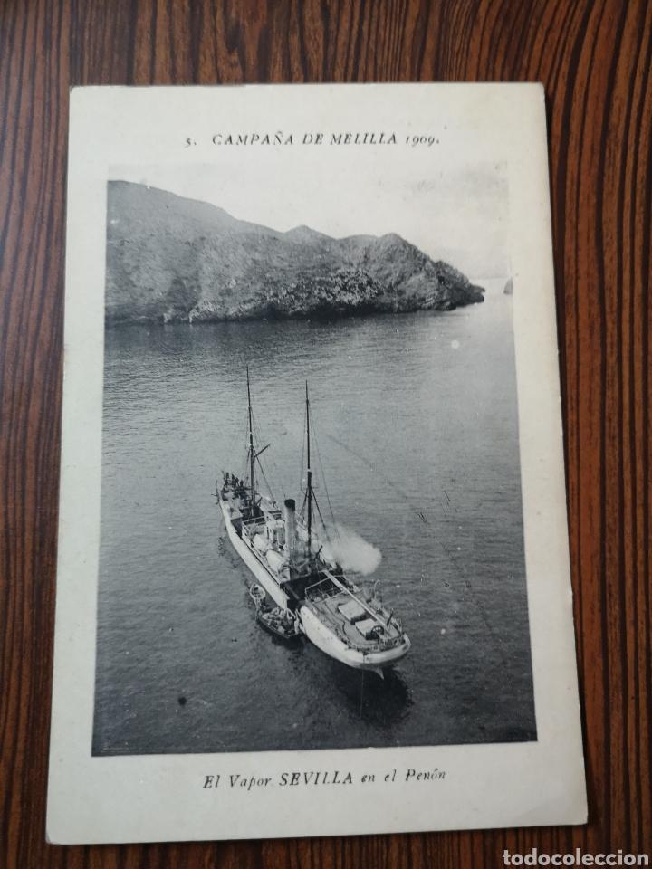 EST 5. PO12. TARJETA POSTAL. 5.BCAMPAÑA DE MELILLA. EL VAPOR SEVILLA EN EL PENÓN. (Postales - España - Melilla Antigua (hasta 1939))