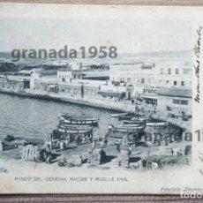 Postales: MELILLA. PASEO DEL GENERAL MACÍAS Y MUELLE CIVIL: FOTOTIPIA LACOSTE Nº 2. COMPAGNIE MAROCAINE. Lote 205467378