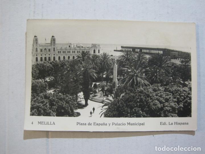 Postales: MELILLA-PLAZA DE ESPAÑA Y PALACIO MUNICIPAL-SELLO CORREO AEREO-FOTOGRAFICA-POSTAL ANTIGUA-(73.600) - Foto 2 - 215485146