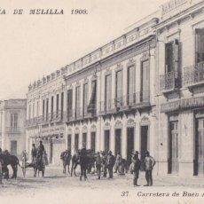 Cartes Postales: CAMPAÑA DE MELILLA 1909 CARRETERA DE BUEN ACUERDO. ED. BEL ALLES. ESCRITA. Lote 218820322