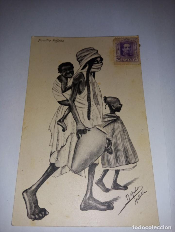 ANTIGUA POSTAL DE MELILLA TITULADA FAMILIA RIFFEÑA DE ED BOIX HERMANOS (Postales - España - Melilla Antigua (hasta 1939))