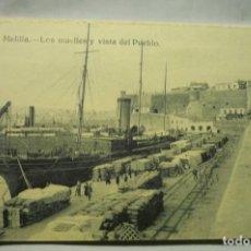 Postales: POSTAL MELILLA - MUELLES Y VISTA PUEBLO. Lote 245129705