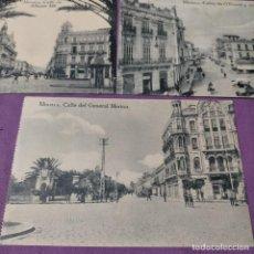 Postales: 3 POSTALES DE MELILLA CALLE DE ALFONSO XIII CALLES DE O DONELL Y ALFONSO XIII GENERAL MARINA. Lote 248724035