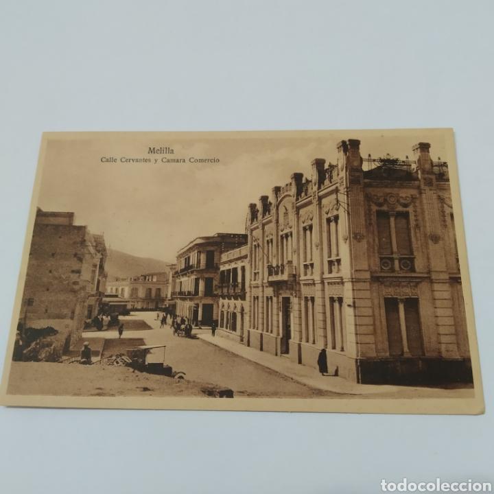 MELILLA. CALLE CERVANTES Y CAMARA COMERCIO. ESPAÑA NUEVA. MARGALLO 5. 7283 (Postales - España - Melilla Antigua (hasta 1939))