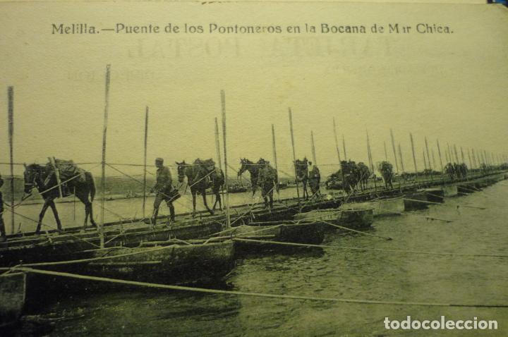 POSTAL MELILLA.-MILITAR PUENTE PONTONEROS BOCANA MAR CHICA (Postales - España - Melilla Antigua (hasta 1939))