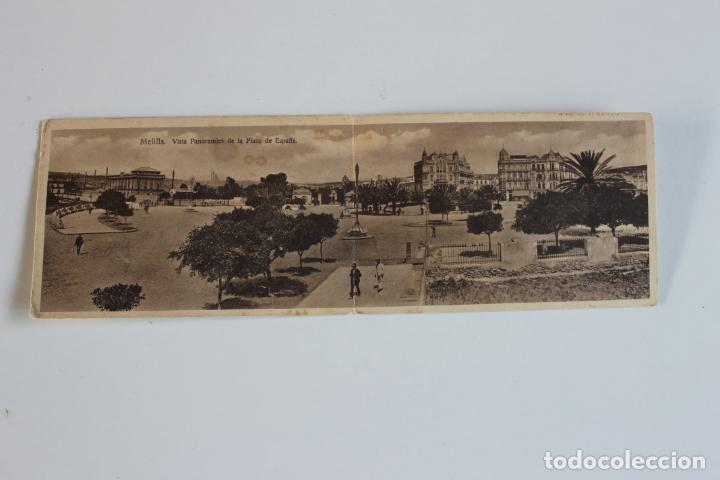 POSTAL DOBLE MELILLA. VISTA PANORAMICA DE LA PLAZA DE ESPAÑA, ESPAÑA NUEVA (Postales - España - Melilla Antigua (hasta 1939))