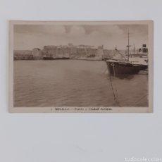 Postales: POSTAL DE MELILLA. PUERTO Y CIUDAD ANTIGUA. SEPIA Y MATE. FOTÓGRAFO L. ROISIN.. Lote 254002670