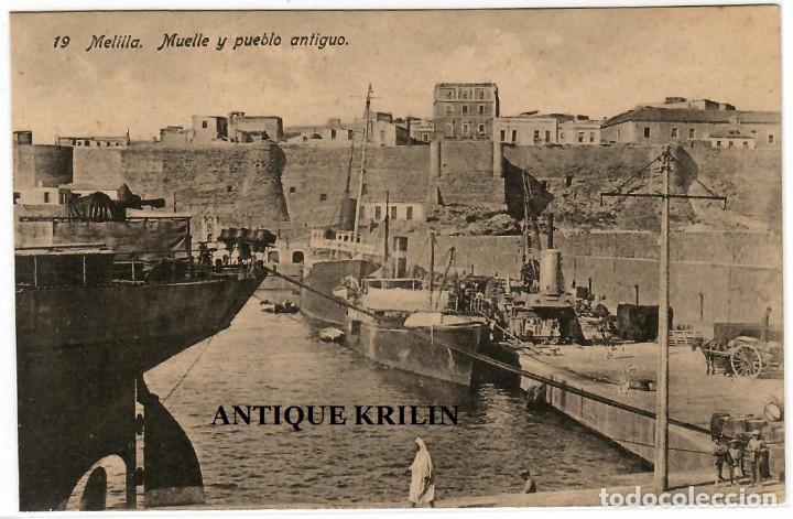 MELILLA Nº 19 MUELLE Y PUEBLO ANTIGUO / EDICION BOIX HERMANOS (Postales - España - Melilla Antigua (hasta 1939))