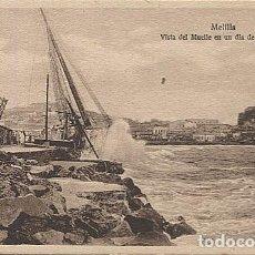 Postales: X125443 RARO MELILLA VISTA DEL MUELLE EN UN DIA DE TEMPORAL. Lote 265196724