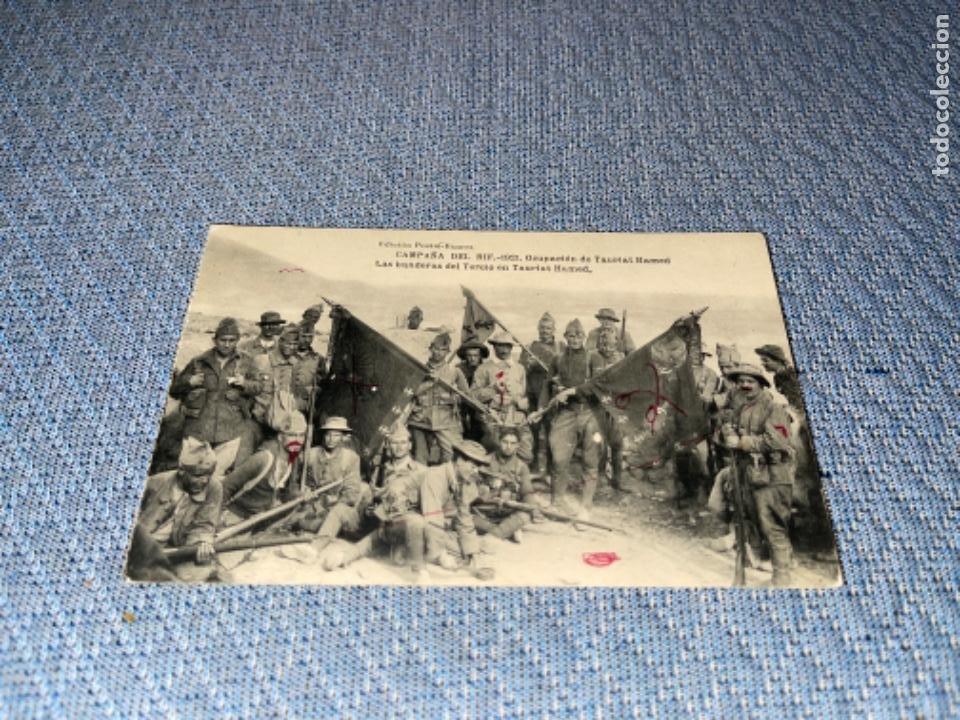 CAMPAÑA DEL RIF. 1921. OCUPACION TAURIAT HAMED. BANDERAS DEL TERCIO DE LA LEGIÓN. HAUSER Y MENET. (Postales - España - Melilla Antigua (hasta 1939))