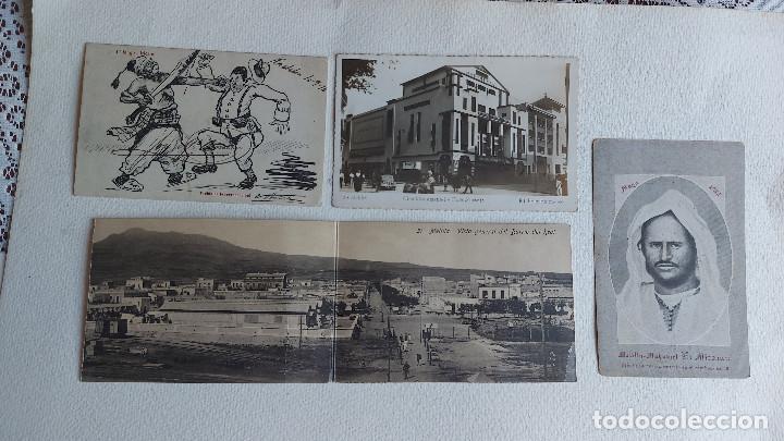 R-73.- LOTE DE -- 4 -- POSTALES DE -- MELILLA.- 1 ES DOBLE, VARIOS LUGARES , VER FOTOS DE LAS 4 (Postales - España - Melilla Antigua (hasta 1939))
