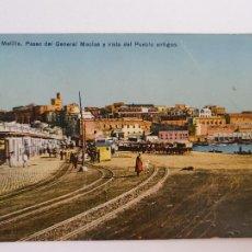 Postales: MELILLA - PASEO DEL GENERAL MACÍAS I VISTA DEL PUEBLO ANTIGUO - LAXC - P52112. Lote 269262628