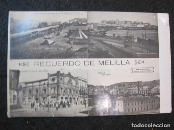 MELILLA-FERROCARRIL-PUERTO-TEATRO-ED·BOIX HERMANOS-FOTOGRAFICA-POSTAL ANTIGUA-(82.065) (Postales - España - Melilla Antigua (hasta 1939))