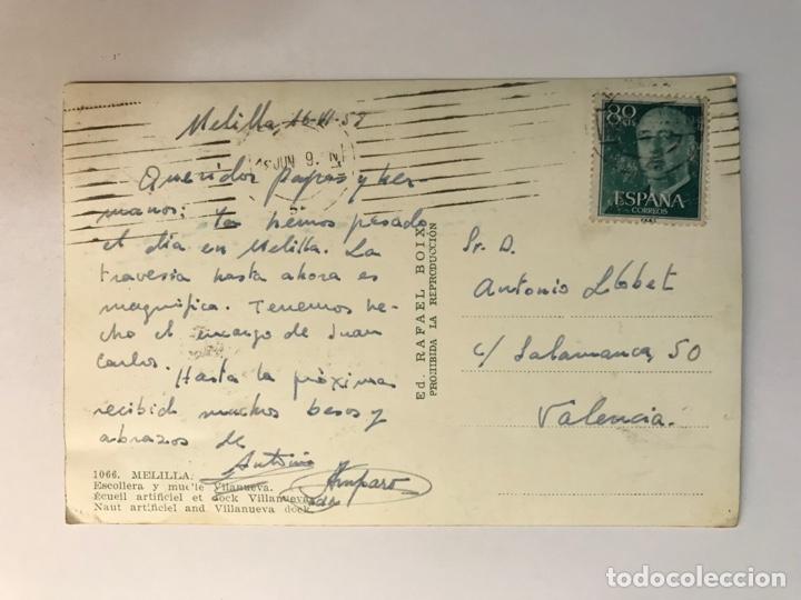 Postales: MELILLA Postal Coloreada No.1066, Escollera y Muelle Villanueva Edic. Rafael Boix (a.1958) Círculada - Foto 2 - 277411643