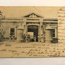 Postales: MELILLA, POSTAL ANIMADA, CUARTEL DE INFANTERÍA.. FOTOTIPIA LACOSTE (A.1909) CÍRCULADA SIN SELLO. Lote 278385728