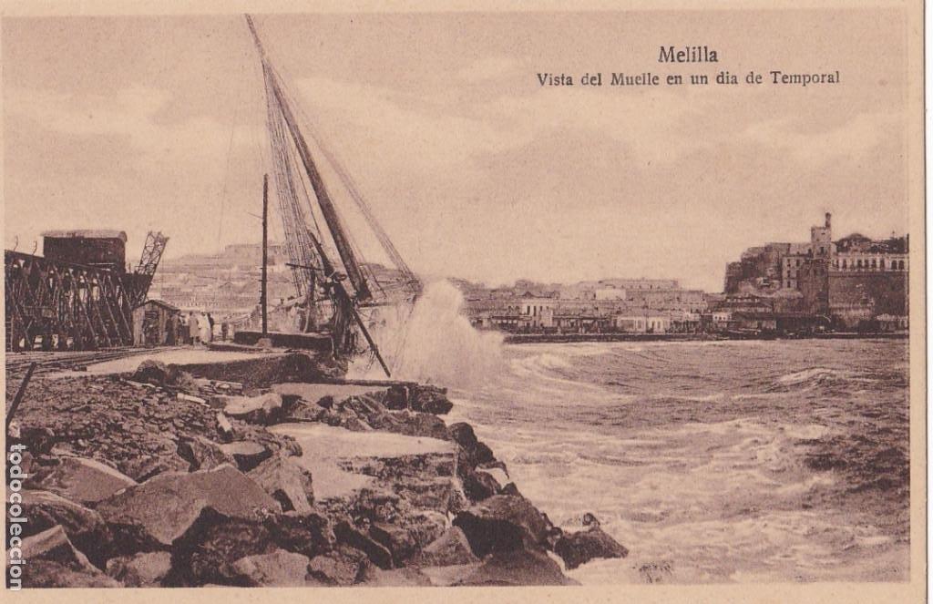 MELILLA VISTA DEL MUELLE EN DIA DE TEMPORAL. ED. ESPAÑA NUEVA. SIN CIRCULAR (Postales - España - Melilla Antigua (hasta 1939))