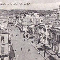 Cartoline: MELILLA, DETALLE CALLE ALFONSO XIII. ED. BOIX HERMANOS. ESCRITA EN 1925. Lote 287771268