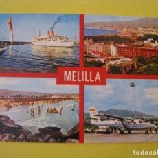 Postales: POSTAL DE MELILLA. VARIAS VISTAS, AEROPUERTO, PLAYA, ED. PERLA. 5497.. Lote 289700483