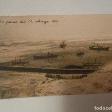 Postales: TARJETA POSTAL FOTOGRAFICA DE MELILLA MILITAR TEMPORAL DEL 12 DE MARZO DE 1914 BARCO VAPOR. Lote 293475893
