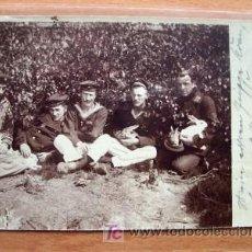 Postales: POSTAL FOTOGRAFICA DE GRUPO MILITAR CIRCULADA EN 1918. Lote 16445075