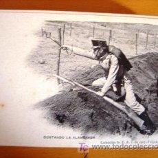 Postales: POSTAL MILITAR ANTIGUA. AÑO 1907. CORTANDO LA ALAMBRADA.. Lote 27576749