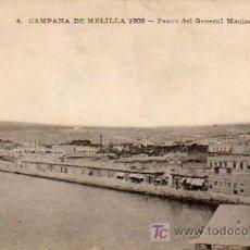 Postales: POSTAL CAMPAÑA DE MELILLA 1909 - PASEO DEL GENERAL MACIAS. Lote 7273214