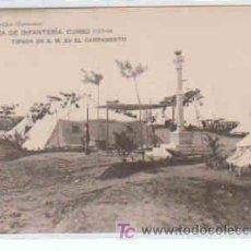 Postales: POSTAL MILITAR, ACADEMIA DE INFANTERIA DE TOLEDO CURSO 1913-14, TIENDA DE S.M. EN EL CAMPAMENTO. Lote 7862872