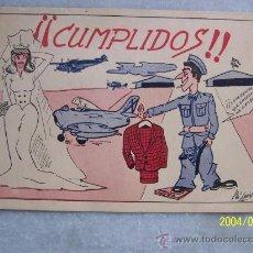 Postales: ¡¡ CUMPLIDOS!!- MIDE 10 X 14 CM. ES UNA CARTULINA PARECIDA A UNA TARJETA POSTAL-VER FOTOS. Lote 17778911