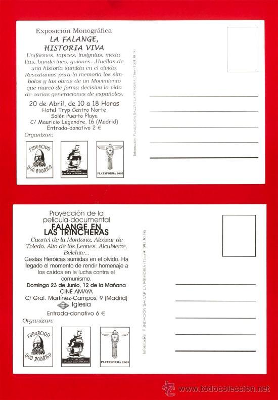 Postales: DOS POSTALES DE FALANGE Falange en las trincheras y La Falange, historia viva - Foto 2 - 22967742