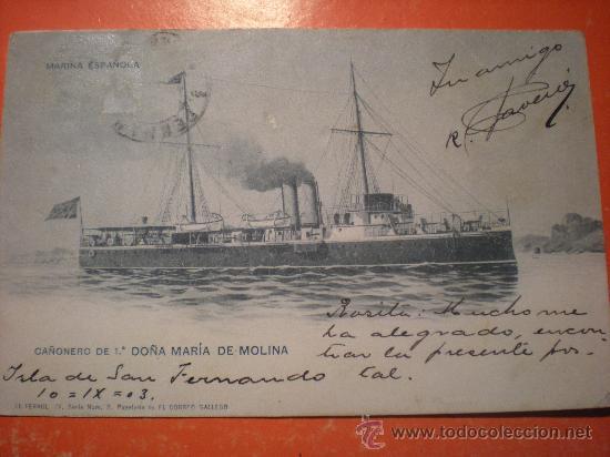 TARJETA POSTAL MARINA ESPAÑOLA - CAÑONERO DE 1ª DOÑA MARIA DE MOLINA -AÑO 1903 (Postales - Postales Temáticas - Militares)