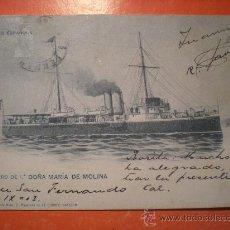 Postales: TARJETA POSTAL MARINA ESPAÑOLA - CAÑONERO DE 1ª DOÑA MARIA DE MOLINA -AÑO 1903. Lote 23214606