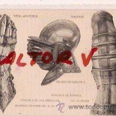 Postales: ANTIGUA POSTAL REAL ARMERIA MADRID MANOPLA ARMADURA CELADA MANOPLA DE TORNEO FOTOTIPIA HAUSER MENET. Lote 12575950