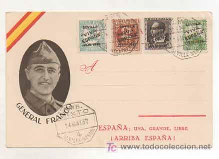 POSTAL MILITAR. GENERAL FRANCO. ESPAÑA, UNA, GRANDE, LIBRE. ED. JUAN MARRA, MALAGA. MATASELLADA. (Postales - Postales Temáticas - Militares)