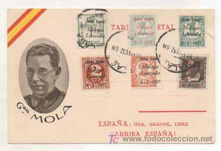 POSTAL MILITAR. GENERAL MOLA. ESPAÑA, UNA, GRANDE, LIBRE. ED. JUAN MARRA, MALAGA. MATASELLADA. (Postales - Postales Temáticas - Militares)