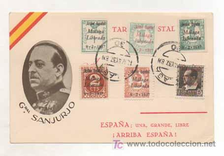 POSTAL MILITAR. GENERAL SANJURJO. ESPAÑA, UNA, GRANDE, LIBRE. (ED. JUAN MARRA.) MATASELLADA 1937. (Postales - Postales Temáticas - Militares)