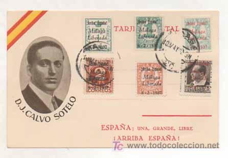 POSTAL MILITAR. D. J. CALVO SOTELO. ESPAÑA, UNA, GRANDE, LIBRE. (ED. JUAN MARRA.) MATASELLADA 1937. (Postales - Postales Temáticas - Militares)