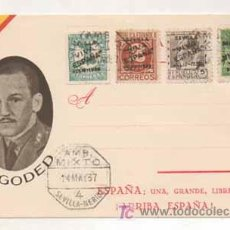 Postales: POSTAL MILITAR. GENERAL GODED. ESPAÑA, UNA, GRANDE, LIBRE. (ED. JUAN MARRA.) MATASELLADA 1937.. Lote 16174180