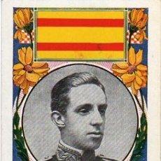 Postales: BONITA POSTAL 1909 DE ALFONSO XIII, CON BANDERA DE ESPAÑA Y UN CURIOSO TEXTO. Lote 27506869