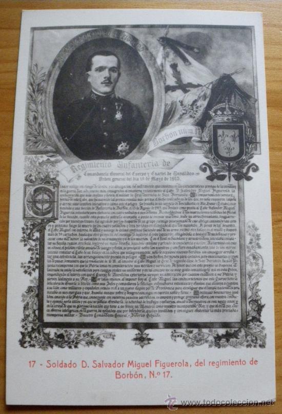 Postales: ANTIGUA POSTAL GUERRA DEL RIF - SOLDADO D. SALVADOR MIGUEL FIGUEROLA, DEL REGIMIENTO DE BORBON Nº 17 - Foto 2 - 182436871