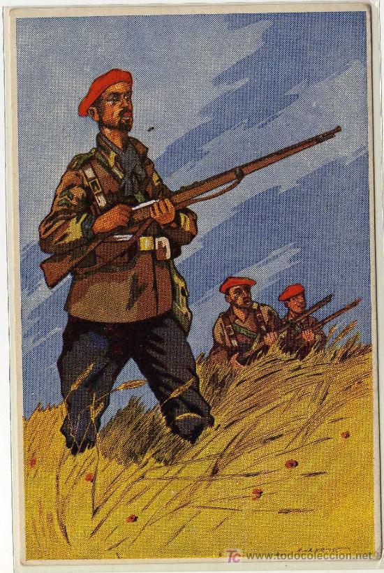 MAGNIFICA POSTAL - LOS SALVADORES DE ESPAÑA - REQUETÉ (Postales - Postales Temáticas - Militares)
