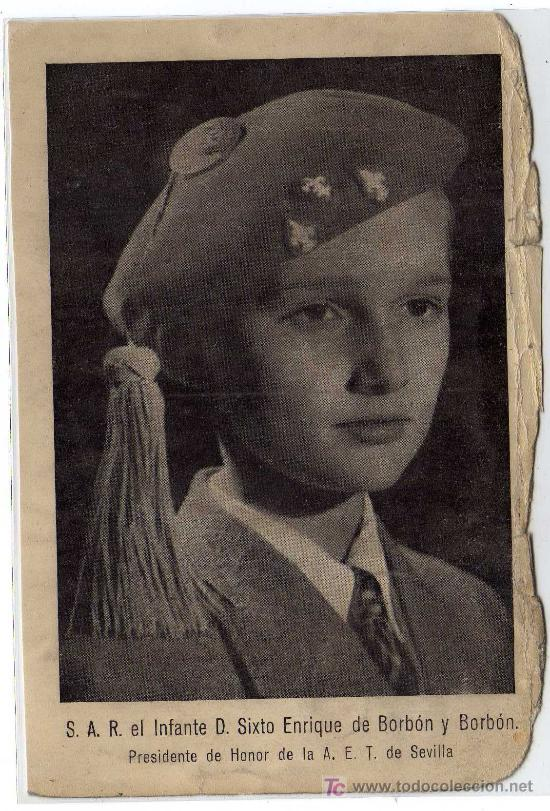 RARISIMA POSTAL -S.A.R.EL INFANTE D.SIXTO ENRIQUE DE BORBÓN Y BORBÓN - PTE.HONOR - A.E.T. DE SEVILLA (Postales - Postales Temáticas - Militares)