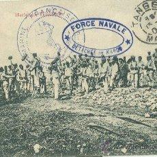 Postales: MARRUECOS. MELILLA. TROPAS ESPAÑOLAS HACIENDO TRINCHERAS. CIRCULADA EN 1909.. Lote 26674630