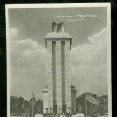 Postales: TARJETA POSTAL DE EXPOSICION INTERNACIONAL DE PARIS. PABELLON DE ALEMANIA. BANDERA SVASTICA.. Lote 26212387