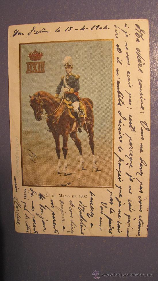 POSTAL ALFONSO XIII- 17 MAYO 1902 - ESCRITA , CON SELLO . (Postales - Postales Temáticas - Militares)