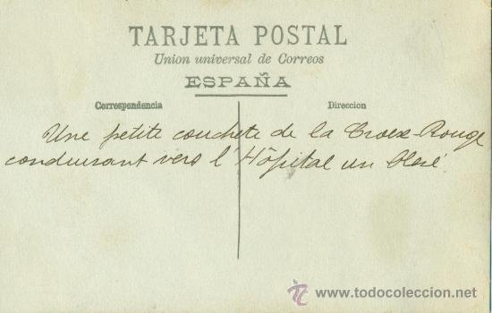 Postales: MELILLA. TRANSPORTE DE HERIDOS EN CAMILLAS DE LA CRUZ ROJA. HACIA 1909. - Foto 2 - 27961610