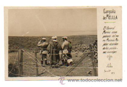 CAMPAÑA DE MELILLA. EL GENERAL MARINA Y MORO MAIMON OBSERVANDO... (J. C. SERIE 2, Nº 1) FOTOGRÁFICA. (Postales - Postales Temáticas - Militares)