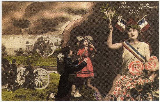 BONITA POSTAL - PRISE DE MULHOUSE - 1914 (REPRODUCCION) (Postales - Postales Temáticas - Militares)
